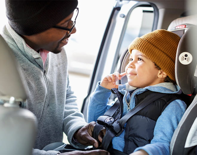 Father and child in carseat
