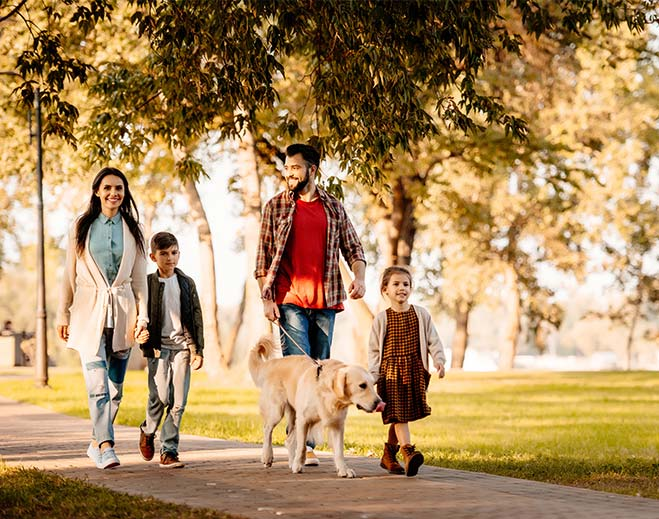 family taking a walk in the park